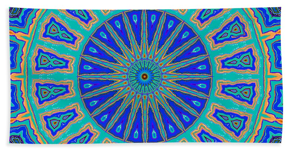 Joy Mckenzie Beach Towel featuring the digital art Grecian Tiles No. 2 by Joy McKenzie
