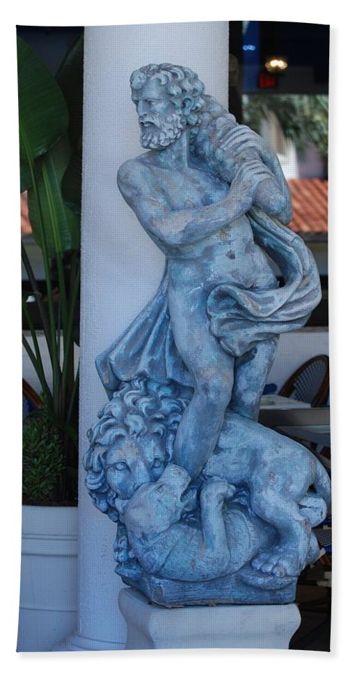 Statue Beach Towel featuring the photograph Greek Dude And Lion In Blue by Rob Hans