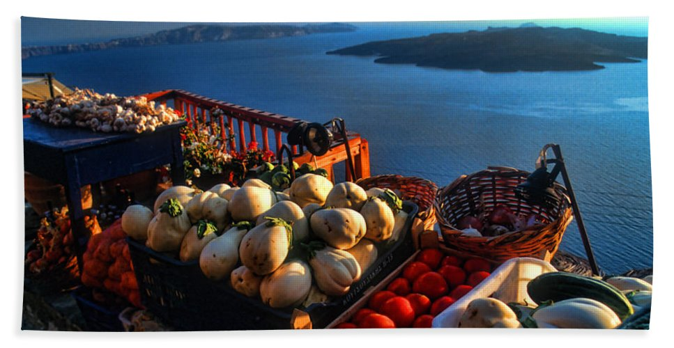Europe Beach Towel featuring the photograph Greek Food At Santorini by David Smith