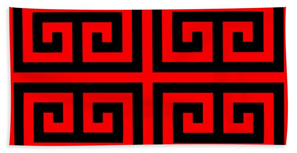 Greek Key Black Background 02 P0108 Beach Towel For Sale By Custom