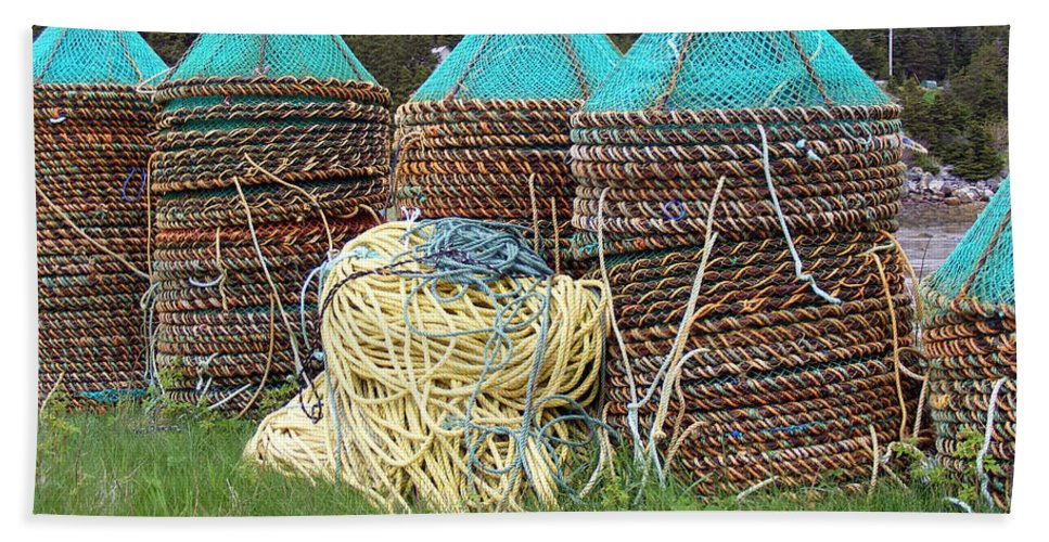 East Coast Crab Pots Beach Towel featuring the photograph Green - Crab Pots by Barbara Griffin