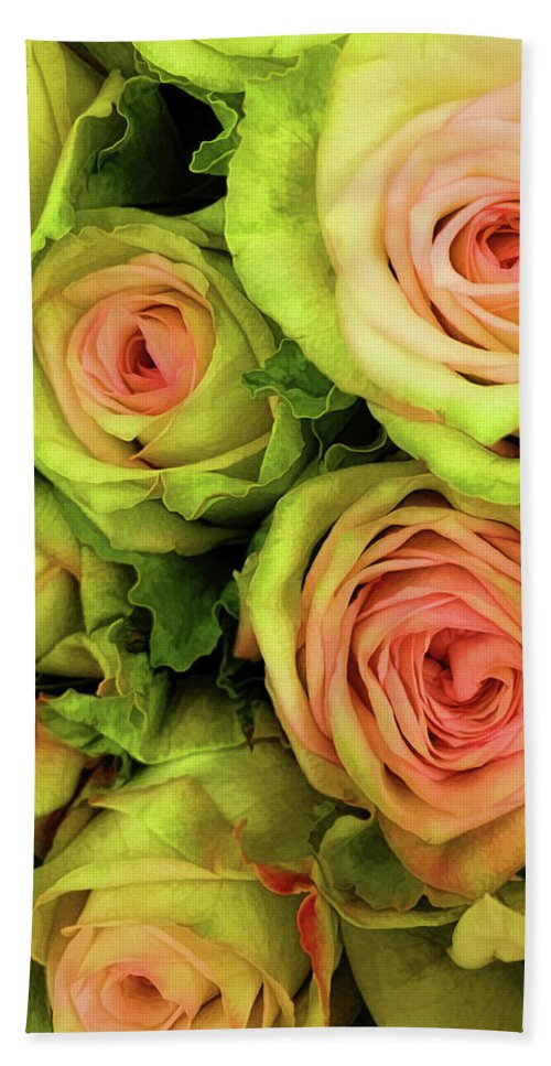 Rose Beach Towel featuring the photograph Green And Pink Rose Bouquet by Jessica Manelis