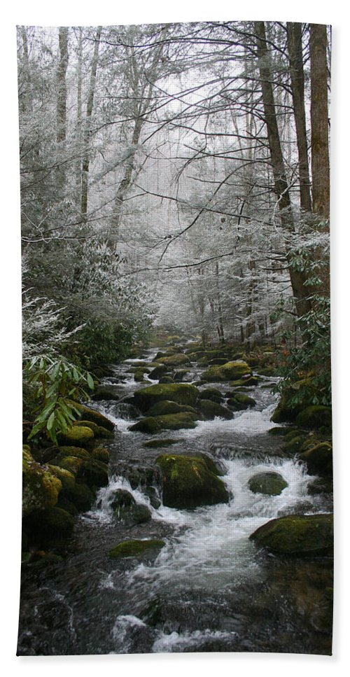 Green Snow Tree Trees Winter Stream River Creek Water Stone Rock Flow Boulder Forest Woods Cold Beach Towel featuring the photograph Green And White by Andrei Shliakhau