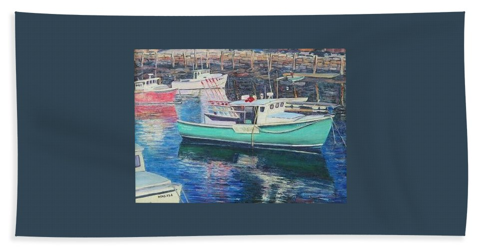 Water Beach Towel featuring the painting Green Boat Reflections by Richard Nowak