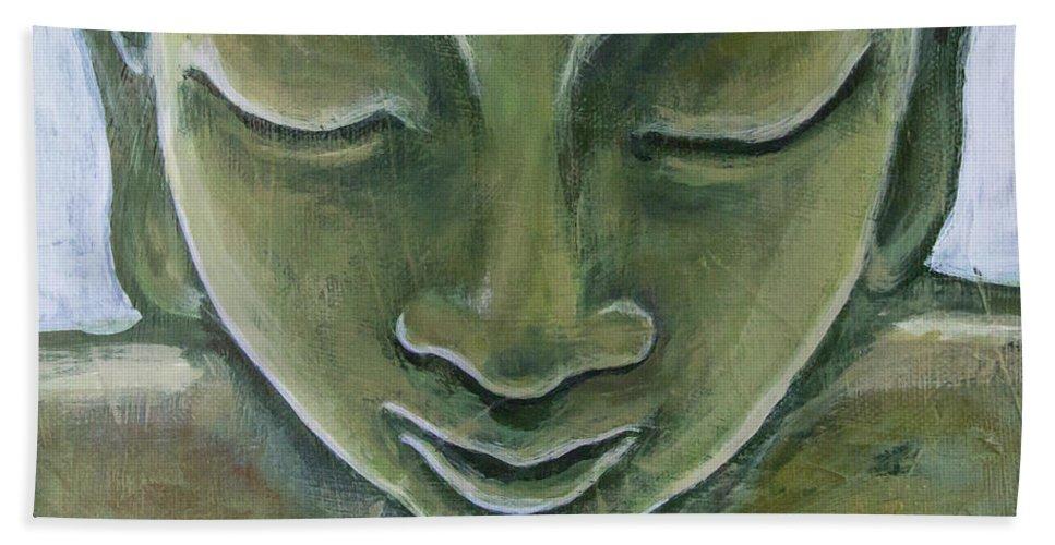 Tara Beach Towel featuring the painting Jade Buddha by Tara D Kemp