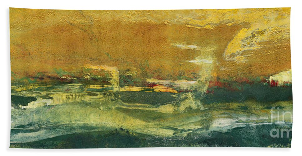 Abstract Painting Beach Towel featuring the painting Green Edge by Pat Saunders-White