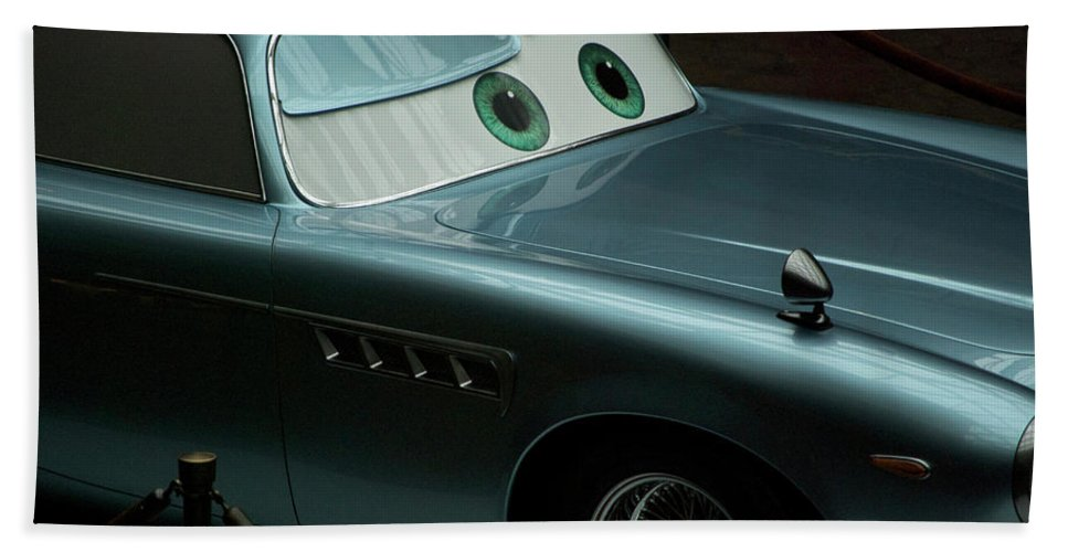 Finn Mcmissile Beach Towel featuring the photograph Green Eyed Finn McMissile MP by Thomas Woolworth