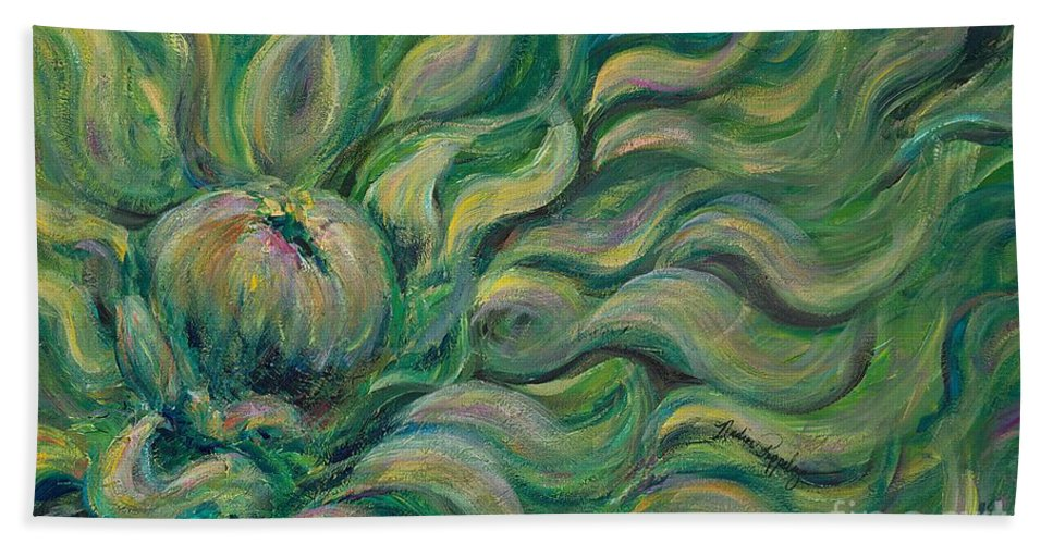 Green Beach Towel featuring the painting Green Flowing Flower by Nadine Rippelmeyer