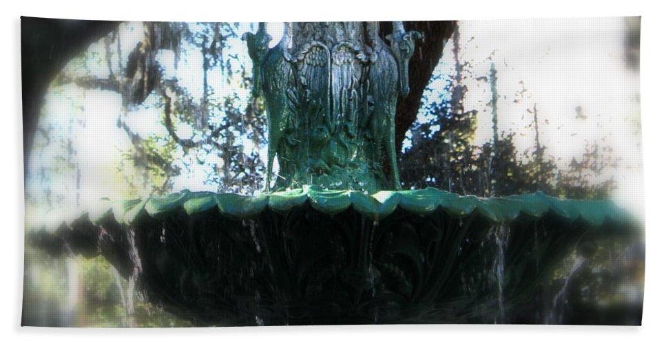 Savannah Beach Towel featuring the photograph Green Fountain by Carol Groenen