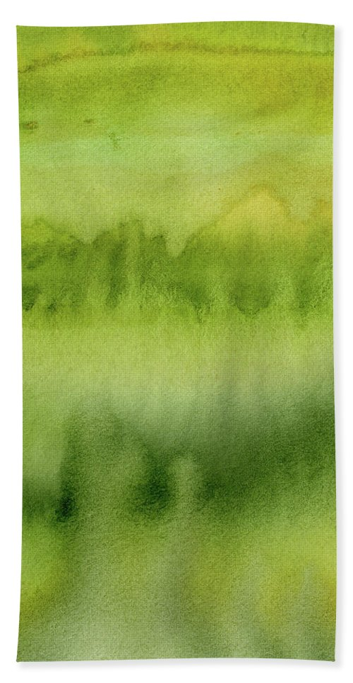 Green Beach Towel featuring the painting Green Gold Forest Abstract Watercolor by Olga Shvartsur