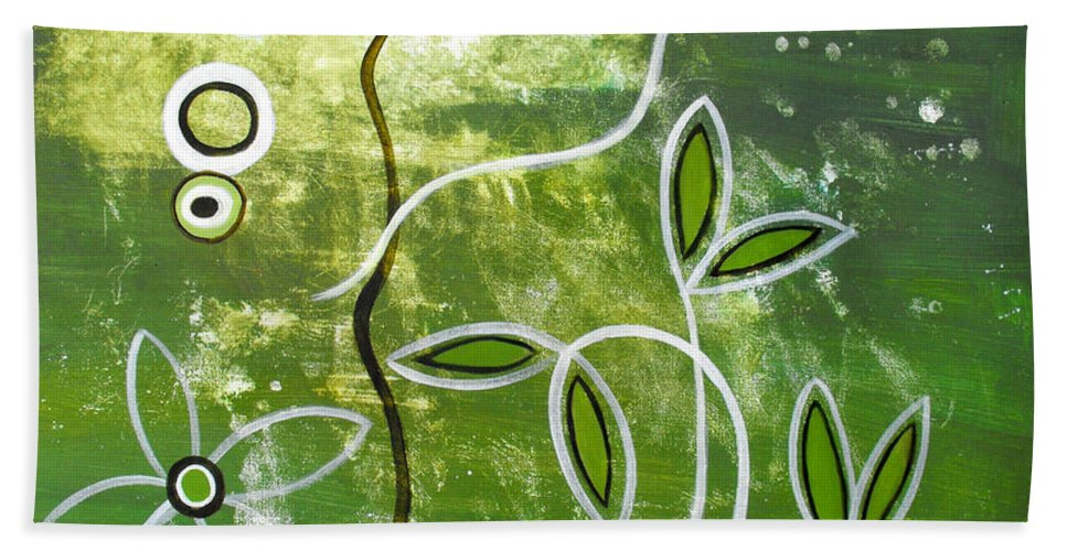 Abstract Beach Towel featuring the painting Green Growth by Ruth Palmer