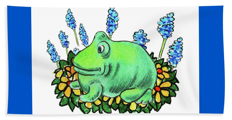 Green Happy Frog Beach Towel featuring the painting Green Happy Frog by Irina Sztukowski
