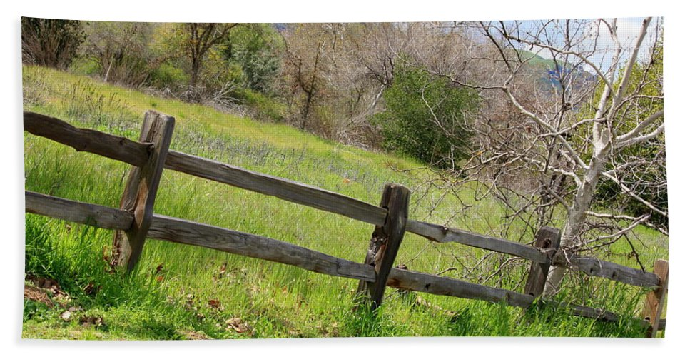 Landscape Beach Sheet featuring the photograph Green Hills And Rustic Fence by Carol Groenen