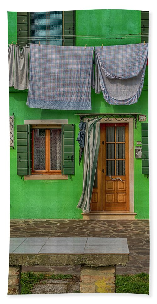 Burano Beach Towel featuring the photograph Green House And Hanging Wash_dsc5111_03042017 by Greg Kluempers