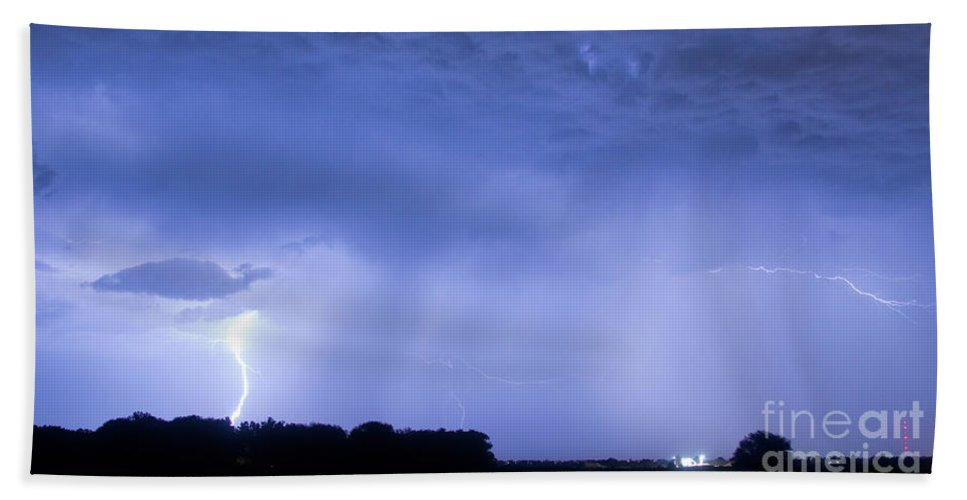 Green Beach Towel featuring the photograph Green Lightning Bolt Ball And Blue Lightning Sky by James BO Insogna