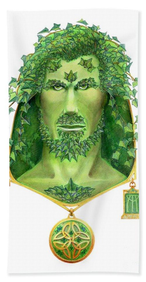 Green Man Beach Sheet featuring the painting Ivy Green Man by Melissa A Benson