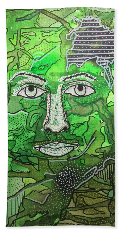 Green Beach Towel featuring the mixed media Green Man by Regina Jeffers