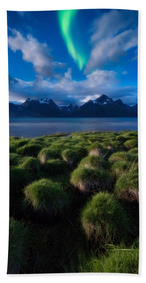 Aurora Borealis Beach Towel featuring the photograph Green Night by Tor-Ivar Naess