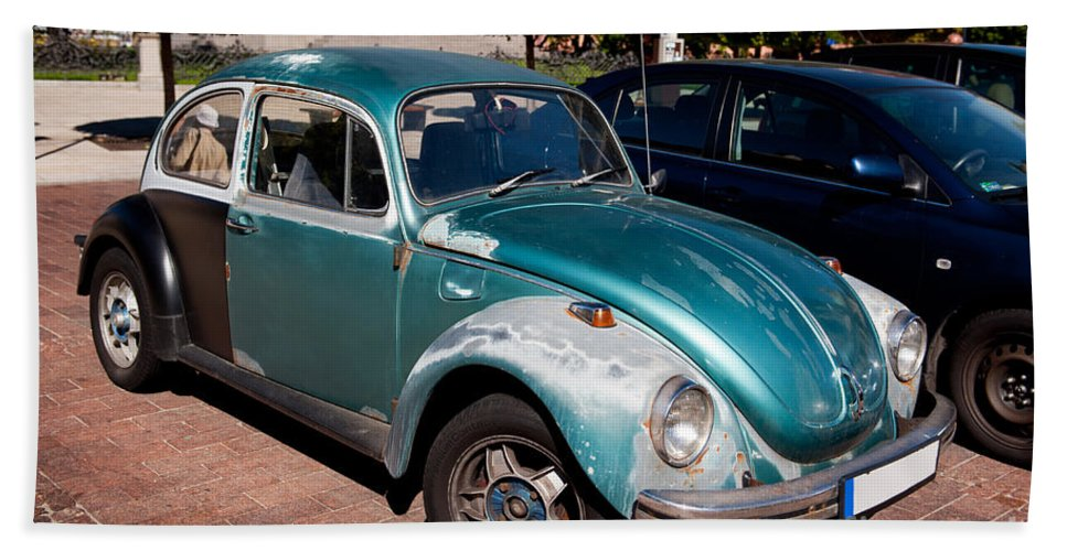 Antique Beach Towel featuring the photograph Green Old Vintage Volkswagen Car by Arletta Cwalina