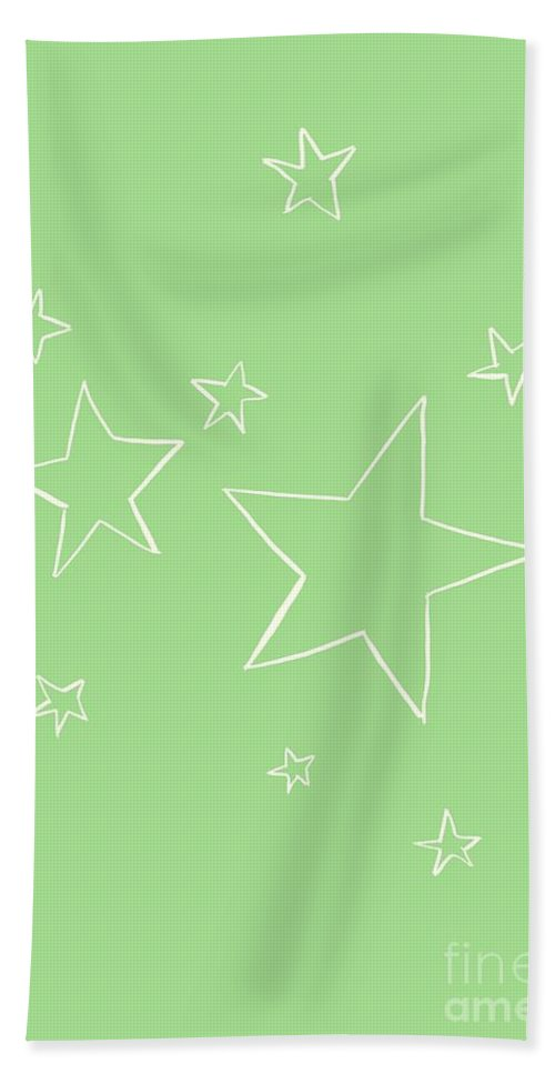Sun Beach Towel featuring the painting Green Stars by Sweeping Girl