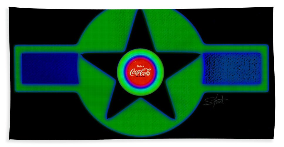 Usaaf Beach Towel featuring the painting Green With Blue by Charles Stuart