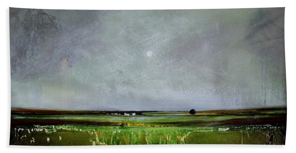 Minimalist Beach Towel featuring the painting Greener Pastures by Toni Grote