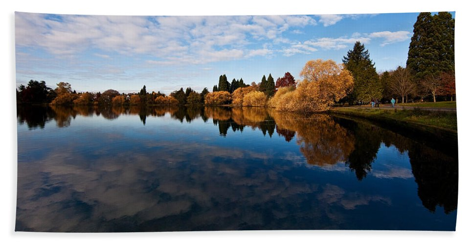 Greenlake Beach Towel featuring the photograph Greenlake Fall Reflections by Mike Reid