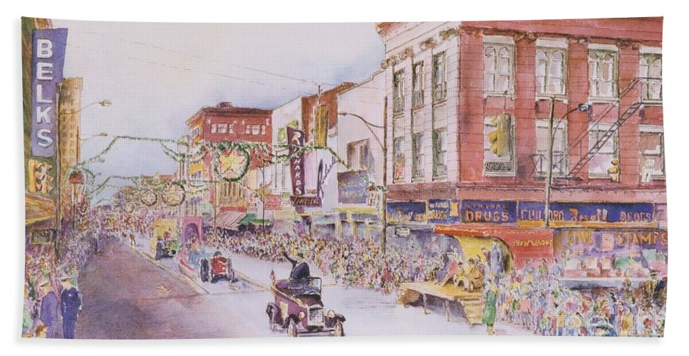 Print Greensboro History Beach Towel featuring the painting Greensboro Christmas Parade 1960 by Maggie Clark