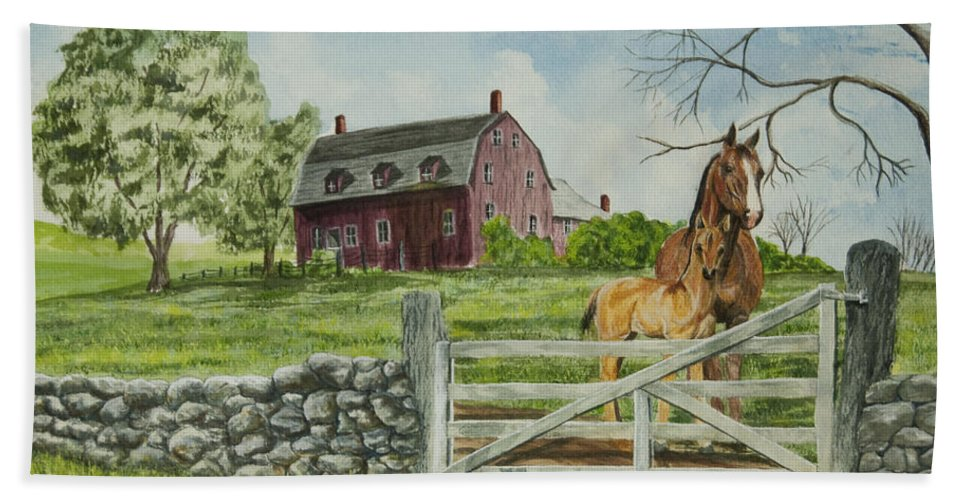 Horses Beach Towel featuring the painting Greeting At The Gate by Charlotte Blanchard