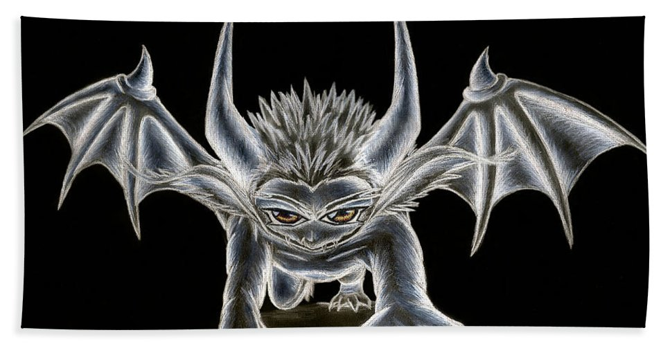 Demon Beach Towel featuring the painting Grevil Pastel by Shawn Dall