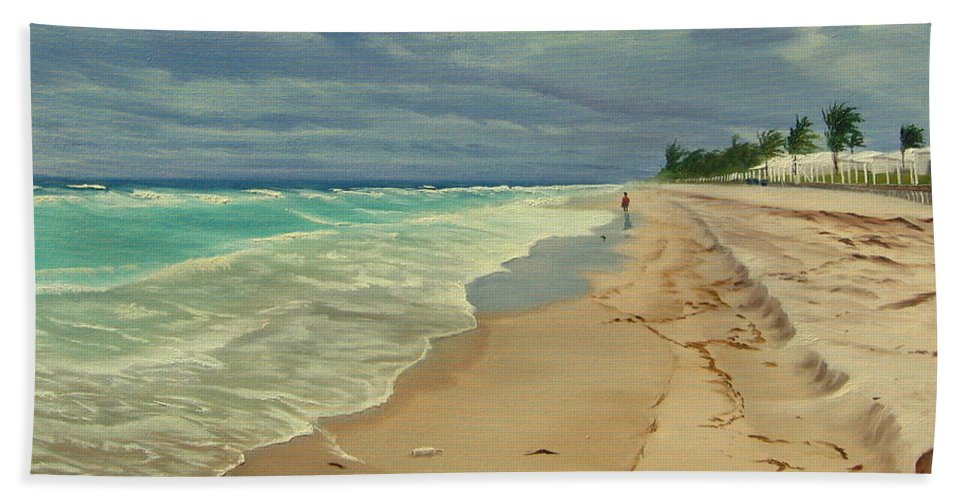 Beach Beach Towel featuring the painting Grey Day on the Beach by Lea Novak