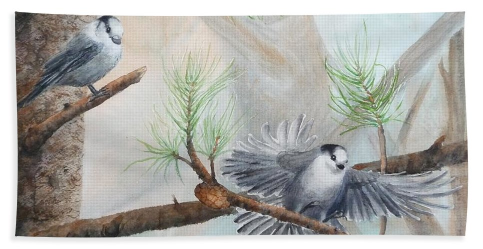 Grey Jay Beach Towel featuring the painting Grey Jays In A Jack Pine by Ruth Kamenev