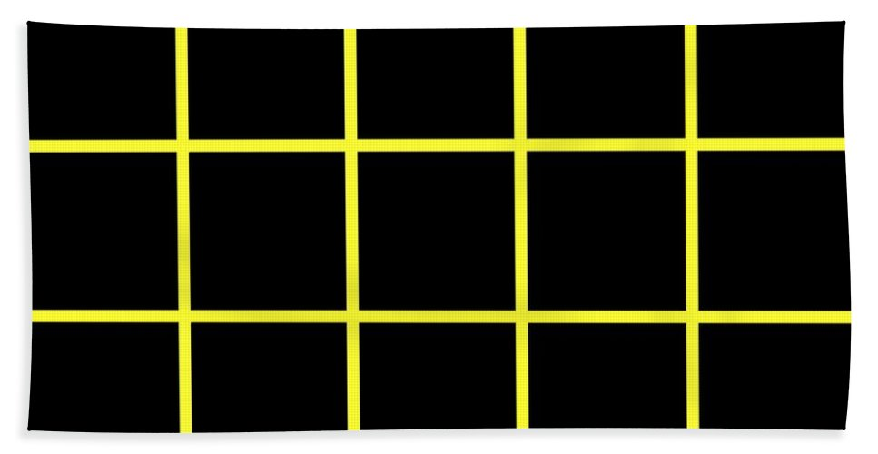 Grid Beach Towel featuring the digital art Grid Boxes In Black 05-p0171 by Custom Home Fashions