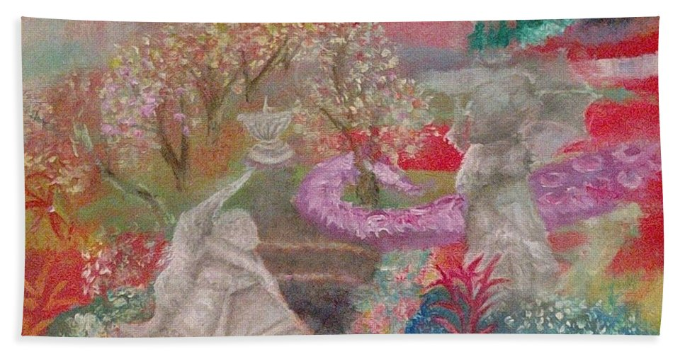 Landscape Beach Towel featuring the painting Grief's Paths by Eileen Fiji