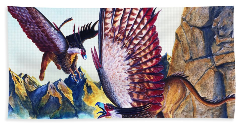 Griffin Beach Towel featuring the painting Griffins On Cliff by Melissa A Benson