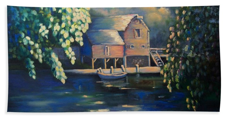 Landscape Beach Towel featuring the painting Grist Mill 2 by Marlene Book