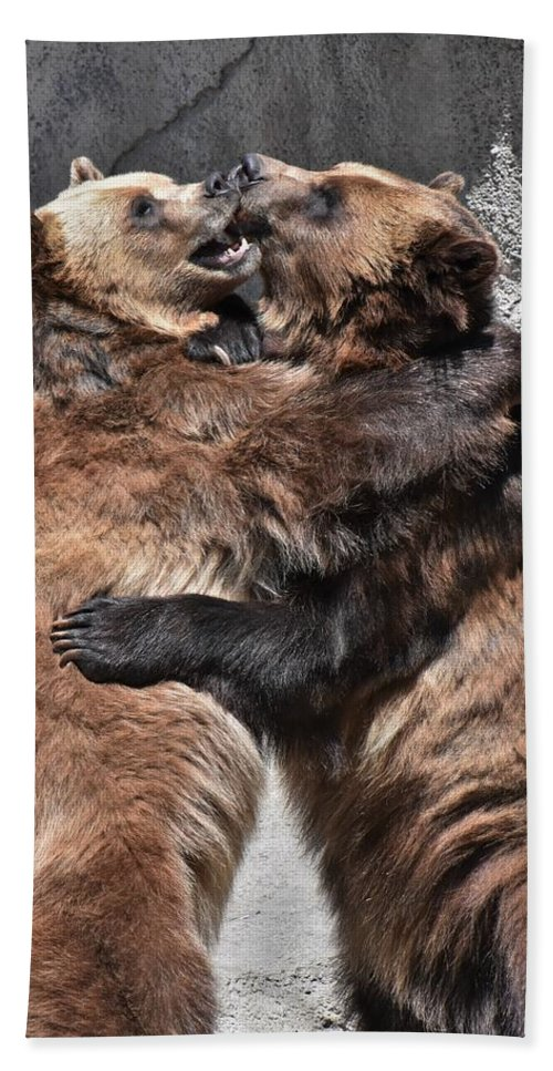 Grizzly Bear Beach Towel featuring the photograph Grizzlies' Playtime 2 by Flo McKinley