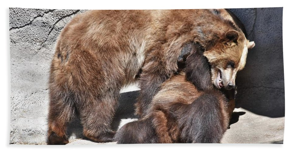 Grizzly Bear Beach Towel featuring the photograph Grizzlies' Playtime 5 by Flo McKinley
