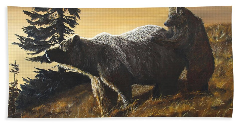 Wildlife Beach Towel featuring the painting Grizzly With Cub by Johanna Lerwick