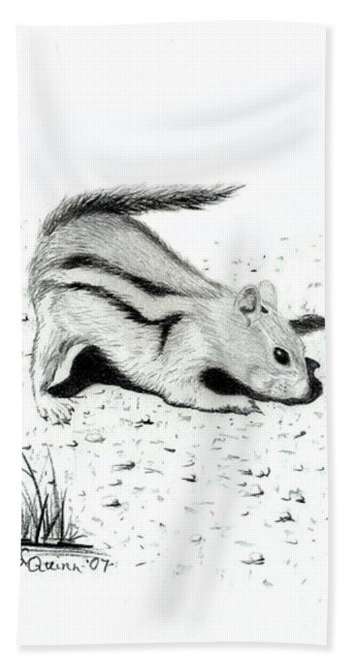 Ground Squirrels Beach Towel featuring the drawing Ground Squirrels by Lynn Quinn