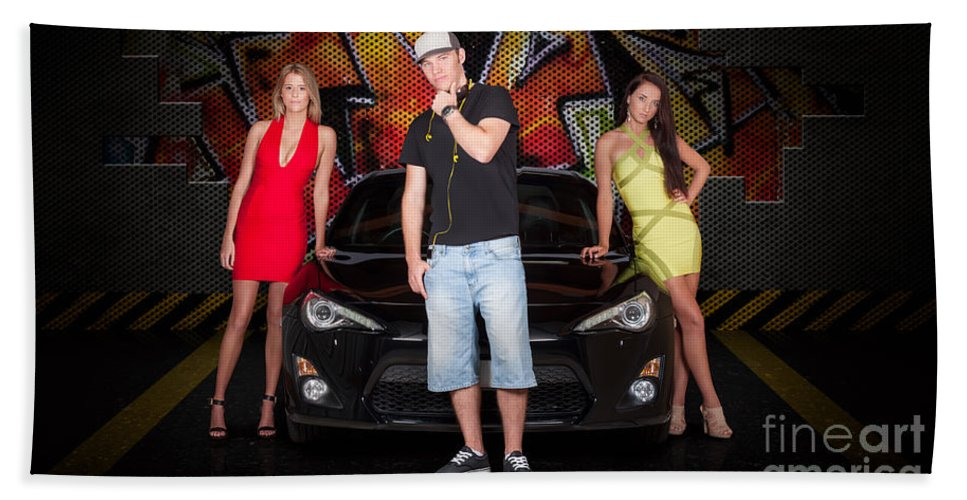 People Beach Towel featuring the photograph Group Of Young People Beside Black Modern Car by Jorgo Photography - Wall Art Gallery