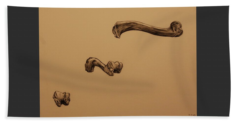Bone Beach Towel featuring the drawing Growing Bone by Michelle Miron-Rebbe