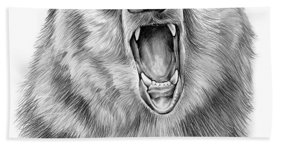 Bear Beach Towel featuring the drawing Growling Bear by Greg Joens