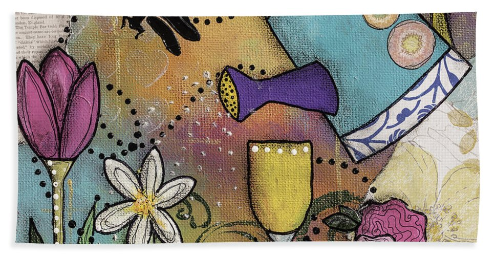 Watering Can Beach Towel featuring the mixed media Growth Spurt by Wendy Provins