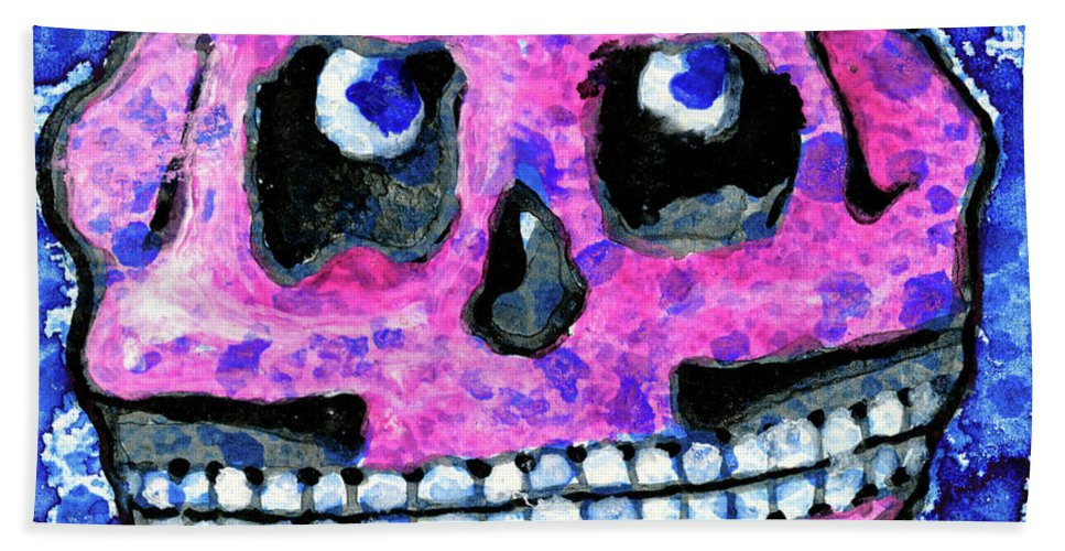 Dia De Los Muertos Beach Sheet featuring the painting Grumbles, The Discontent Purple by Miko At The Love Art Shop