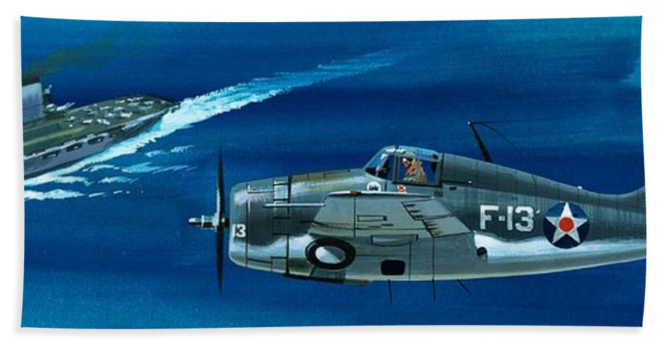 Aircraft; Aeroplane; Plane; Flying; Grumman F4rf-3 Wildcat; Grumman F6f-3 Hellcat; Chance Vought F4u-1a Corsair Beach Towel featuring the painting Grumman F4rf-3 Wildcat by Wilf Hardy