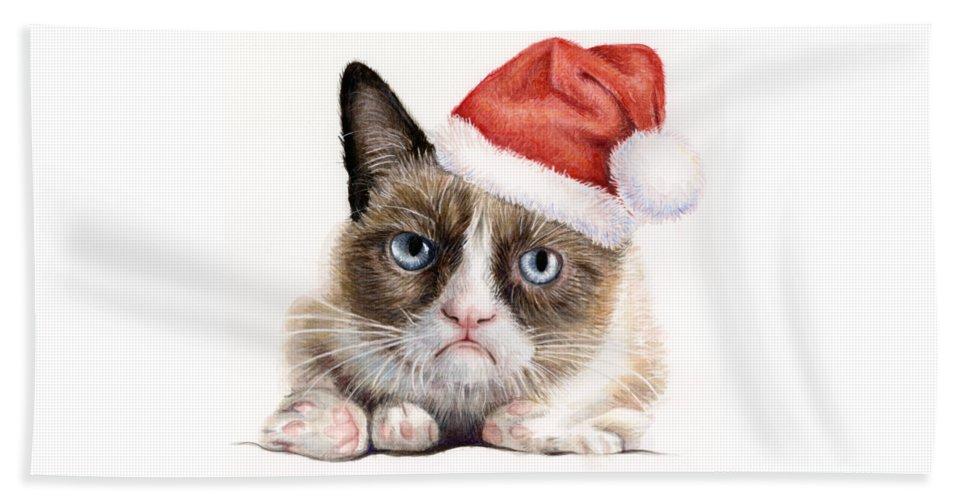 Grumpy Beach Towel featuring the painting Grumpy Cat as Santa by Olga Shvartsur