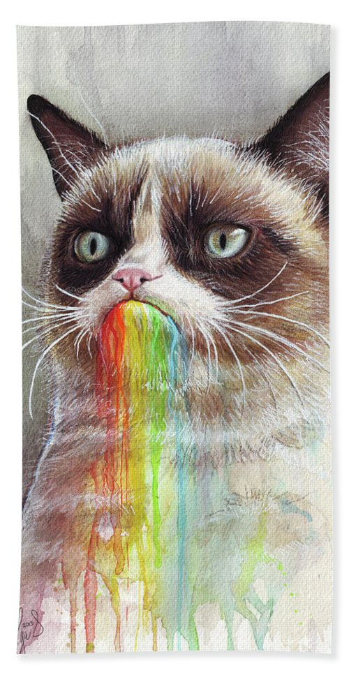 Grumpy Cat Beach Towel featuring the painting Grumpy Cat Tastes The Rainbow by Olga Shvartsur