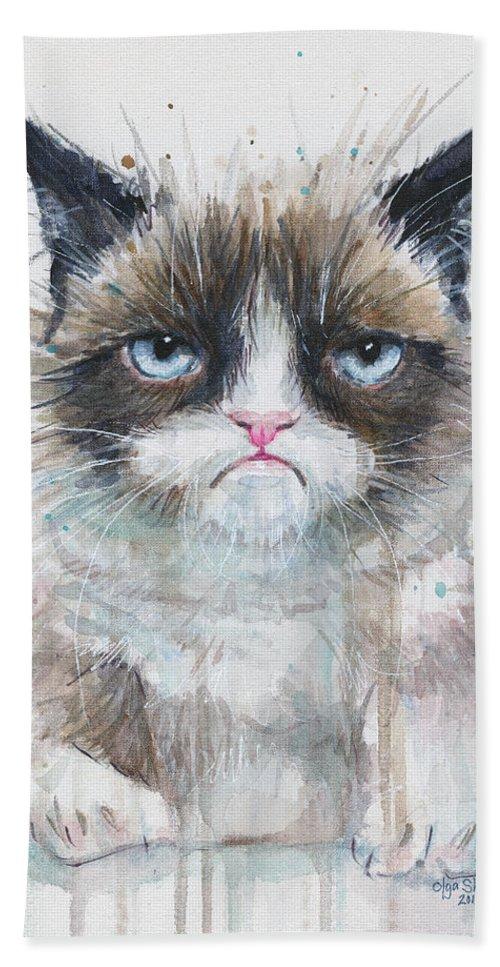 Watercolor Beach Towel featuring the painting Grumpy Cat Watercolor Painting by Olga Shvartsur