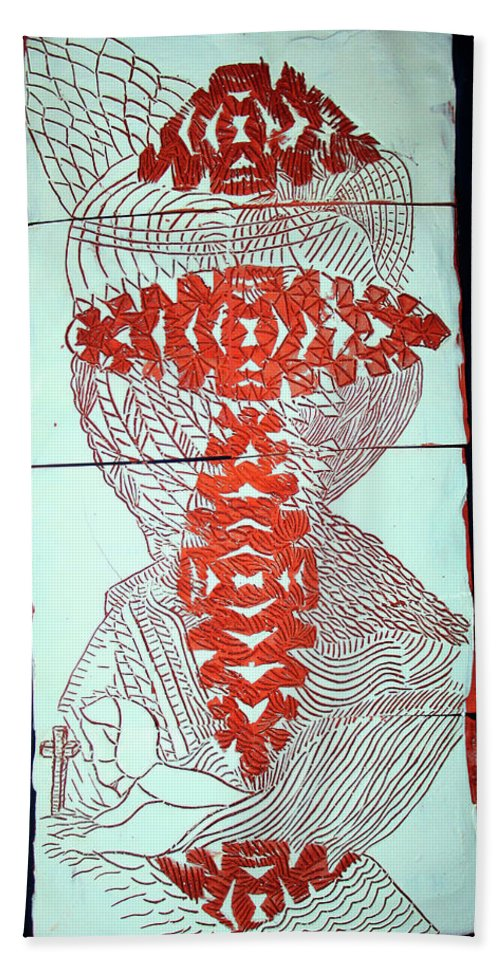 Mama Africa Twojesus Beach Towel featuring the ceramic art Guardian Angel by Gloria Ssali